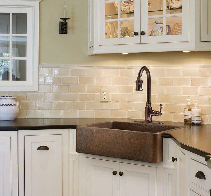 Brown Farmhouse Sink : white and brown kitchen. Picture from Lowes. The copper apron sink is ...