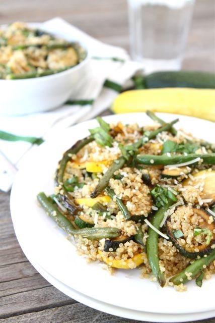 Quinoa with Grilled Summer Squash & Green Beans | Recipe