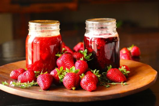 Strawberry Apricot Honey Thyme and Cinnamon-Kissed Strawberry Jam.