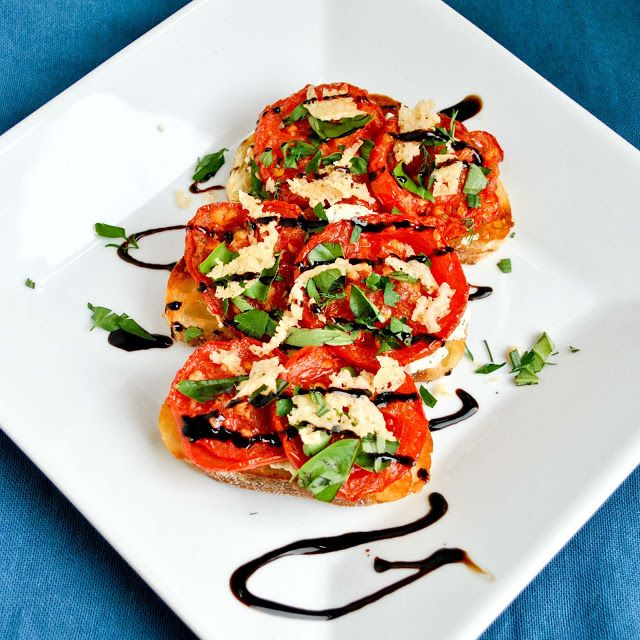Open Face Roasted Tomato and Goat Cheese Sandwiches with Parmesan Cri ...