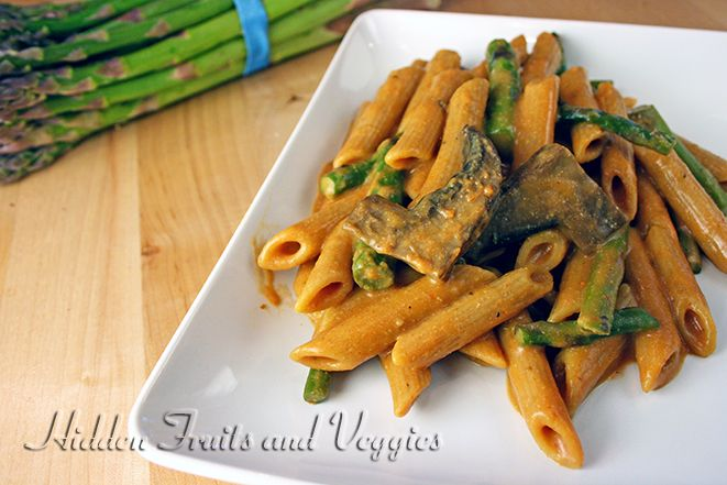 Penne with Portabella Mushrooms and Asparagus in a Tomato Cream Sauce ...