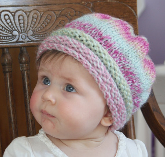 Knitting Pattern For Rolled Brim Baby Hat : Rolled Brim Knit Baby Hat Crafty Pinterest
