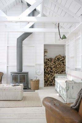 an intriguing idea- it looks like they turned a closet into a wood storage area. I would want to put in a shelf divider and use part for other things... I think... And not keen on white washing beautiful cabin walls!