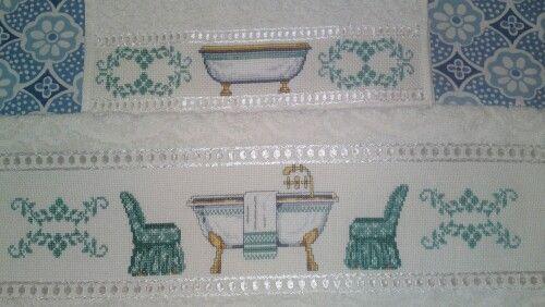 Coppia Asciugamani Bagno Antico A Punto Croce