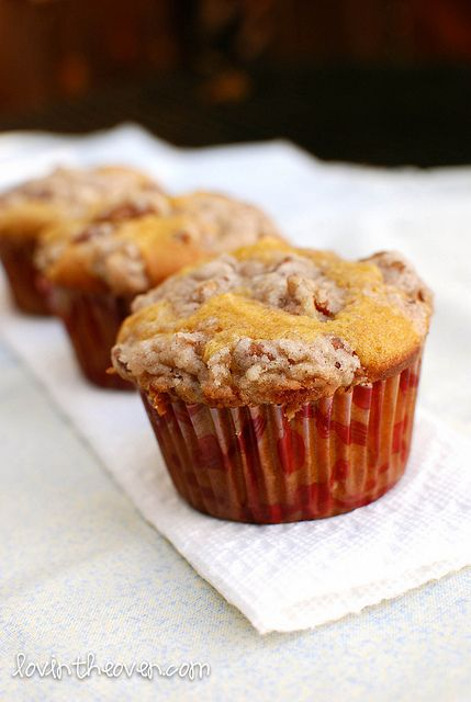 Pumpkin Muffins With Pecan Streusel Topping Recipe — Dishmaps