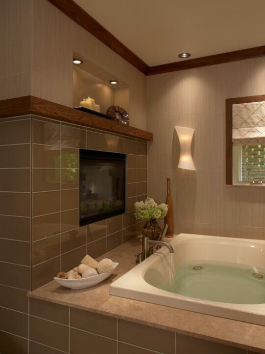 Master Bath With Fireplace H O M E Pinterest