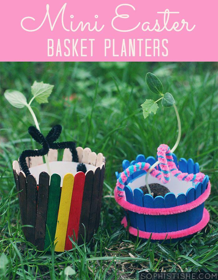 Kid Craft: Mini Wooden Easter Basket Planters - via @Sheena Tatum (Sophistishe.com)