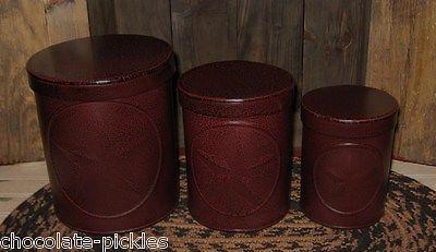 3 americana barn star canister set crackled burgundy black pinterest the world s catalog of ideas