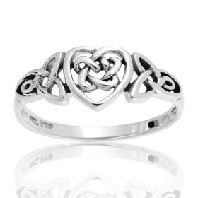 Bling Jewelry Stering Silver Celtic Knotwork Heart Ring - size 4, (celtic jewelry, celtic, jewelry, silver, ring, rings, sterling silver ring, silver insanity, sterling silver, gem avenue)