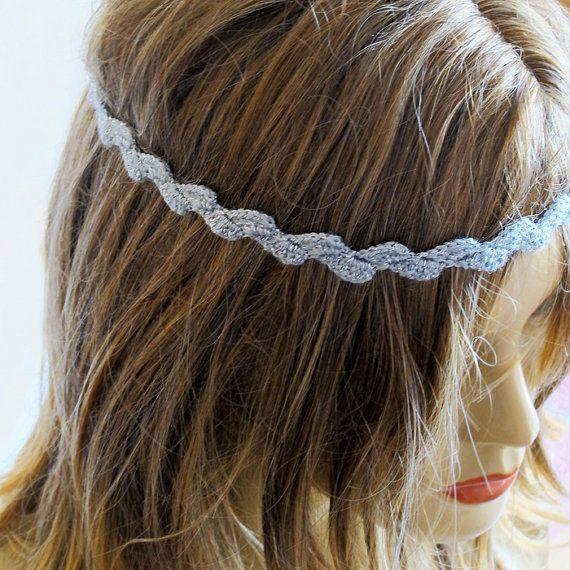 crochet gray Headband hair accessories hair band Wedding Boho Bohemia ...