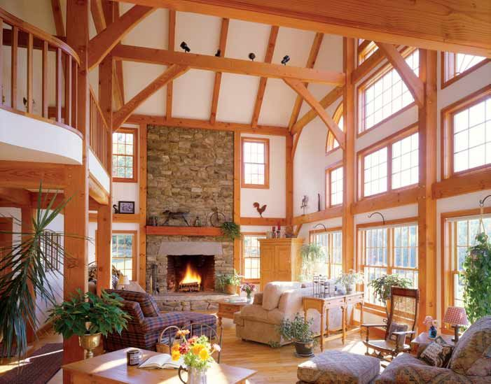 Open concept timber frame floor plan for the home for Open concept post and beam house plans