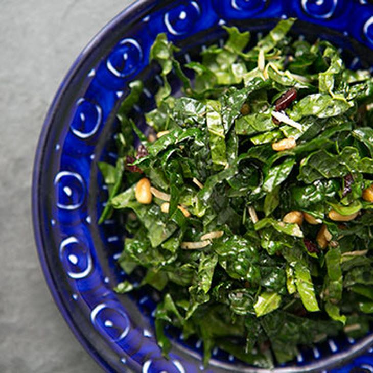Raw Kale Salad with Balsamic, Pine Nuts, and Parmesan Recipe