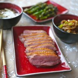 Duck, sesame tenderstem broccoli, miso soup with enoki mushrooms and ...