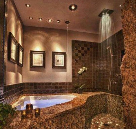 jacuzzi tub and rain shower | bathroom