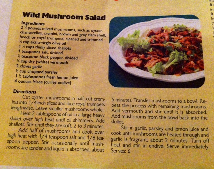 Wild Mushroom Salad | Kitchen Witch - Recipes | Pinterest