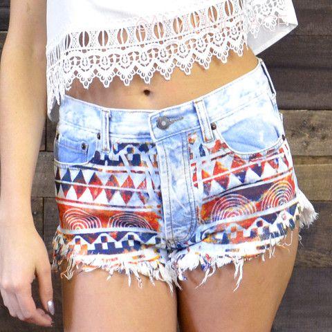 high waisted tribal shorts jean denim southwestern