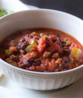 Hearty Halftime Chili! ... So good! With veggies