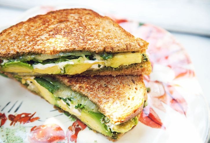 spinach, goat cheese and avocado grilled cheese sandwiches. use spelt ...