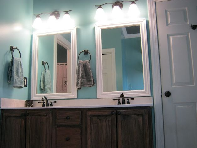 diy framed bathroom mirrors