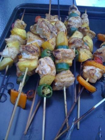 Chicken mango kabobs - I added some veggies (red onion, red peppers ...