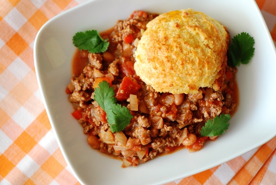 TURKEY CHILI with CORNMEAL-CHEDDAR BISCUITS