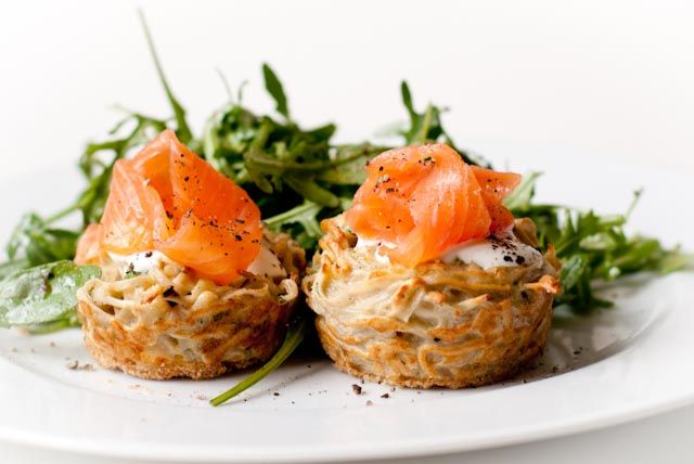 buckwheat and onion kugels, served with smoked salmon, sour cream, and ...