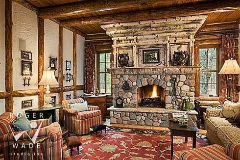 Sophisticated cabin interior design cabins and cabin for Lodge style fireplace ideas