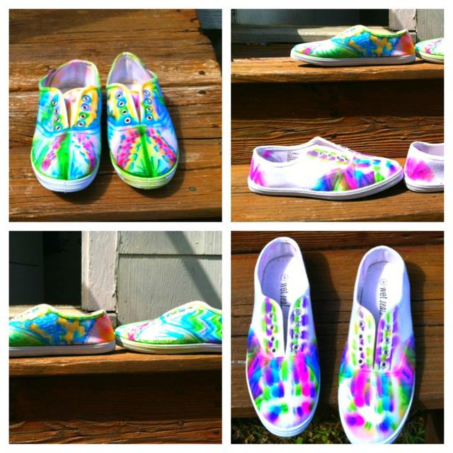 tie dye shoes w sharpie diy