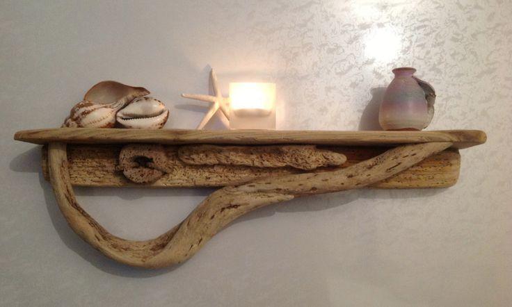 Driftwood shelf beach living pinterest for Driftwood wall shelves