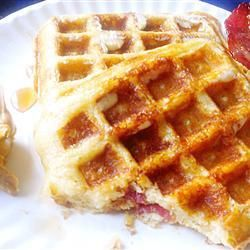 "Brown Sugar Bacon Waffles | ""This waffle recipe would be great even ..."
