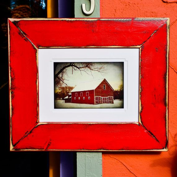 Red Country Wall Decor : Red barn snow country framed fine art photography rustic