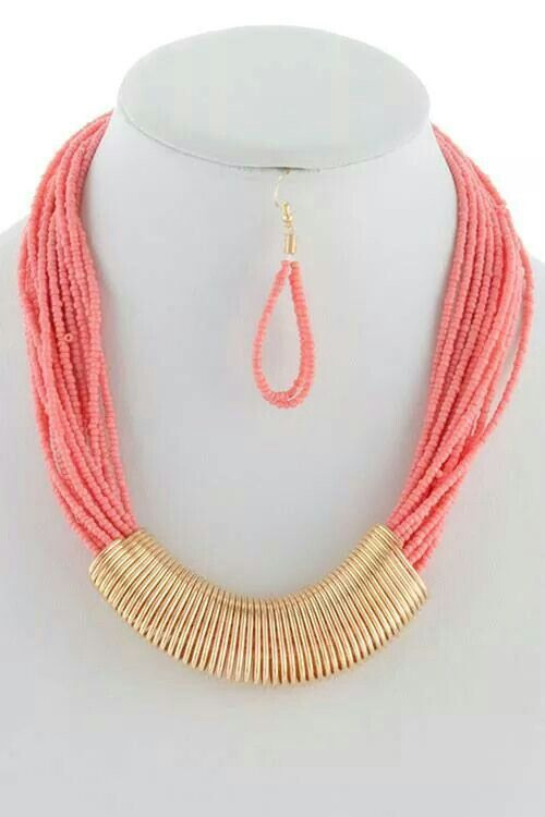 Tribal coral statement necklace earring set. Available on the Dakota