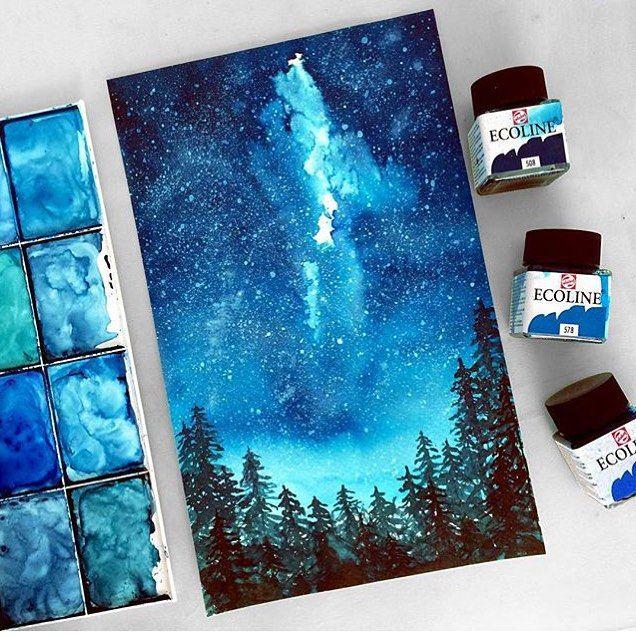 Звезды рисовать красками