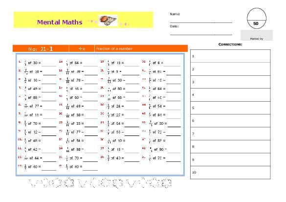 ... 50 - SERIES OF MENTAL MATH WORKSHEETS FOR ± GR/YR 5 Fraction of a