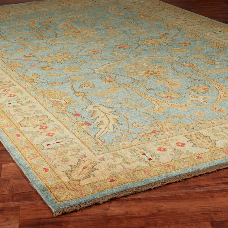 Soft Aqua, Gold And Coral Hand-knot Oushak Rug