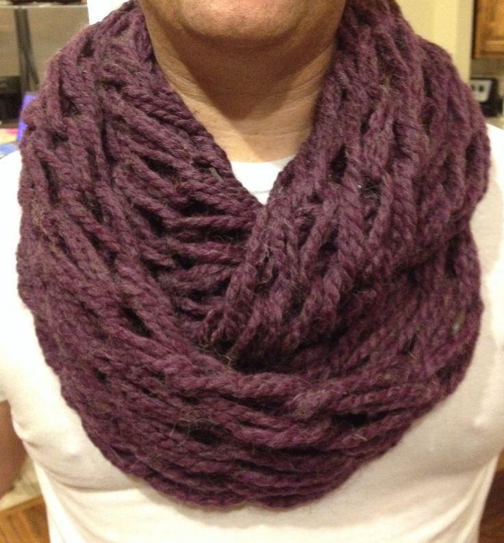 Arm Knit Scarf Pattern : Purple Arm Knitted Infinity Scarf Clothes Pinterest