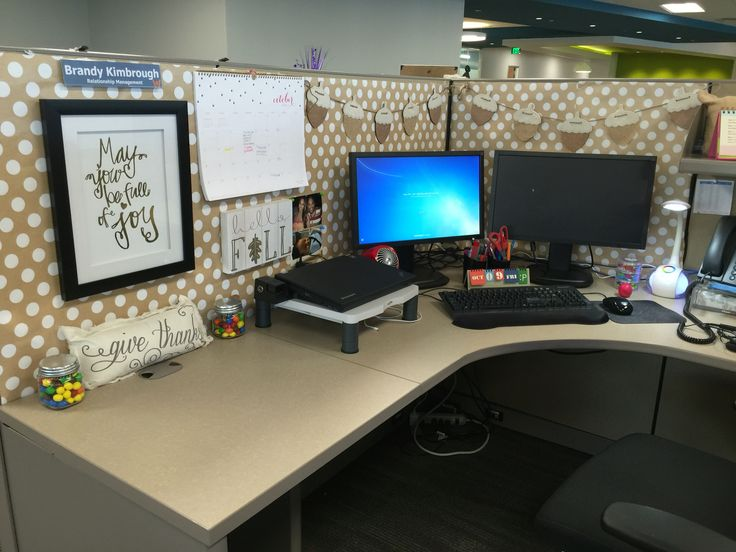 Cubicle makeover everything but the weird thing over the for Cute cubicle ideas