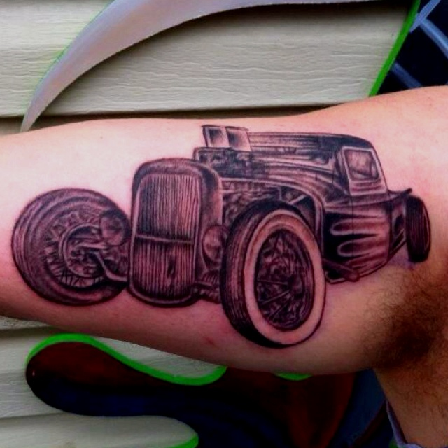 The gallery for old school hot rod tattoos for Hot rod tattoos