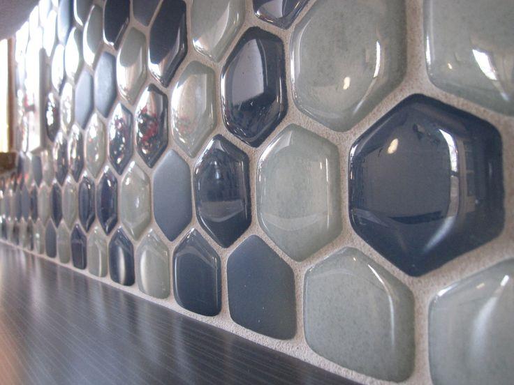 recycled glass hexagon tile backsplash backsplash