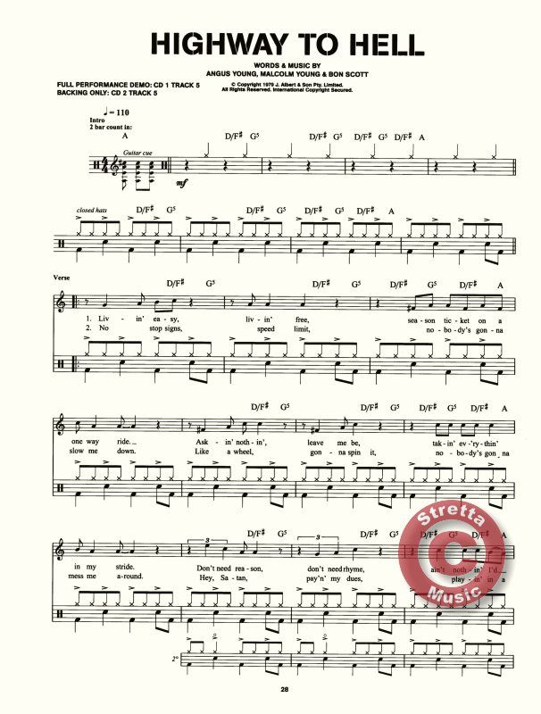 Drum sheet music alhighway to hell back in black demo back in black playalong highway to