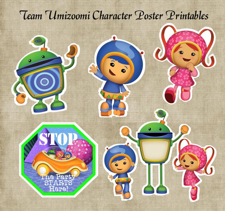 Team Umizoomi Character Posters & Door Sign Birthday Party Printables.