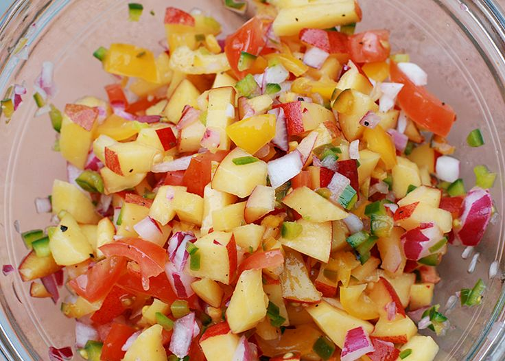 Peach Salsa - I like Mango Salsa but have a major surplus of peaches ...