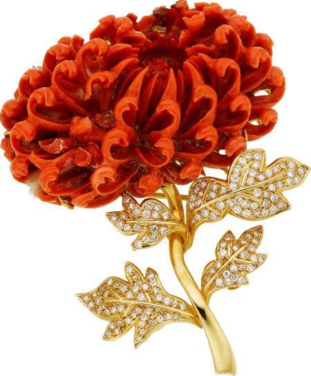 Коралл, алмазов и 14k золото брошь цветок