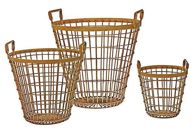 S/3 Round Iron Baskets, Yellow on OneKingsLane.com