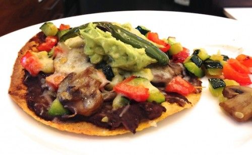 Roasted Vegetable and Refried Bean Tostadas - Kathy Dishes