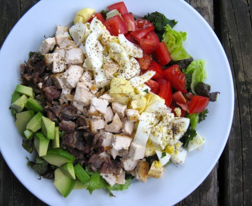 Dairy-free, gluten/grain-free cobb salad with homemade vinaigrette