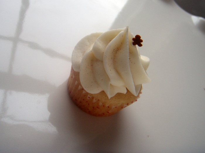 Eggnog Cupcakes with Bourbon Caramel Cream-Cheese Frosting