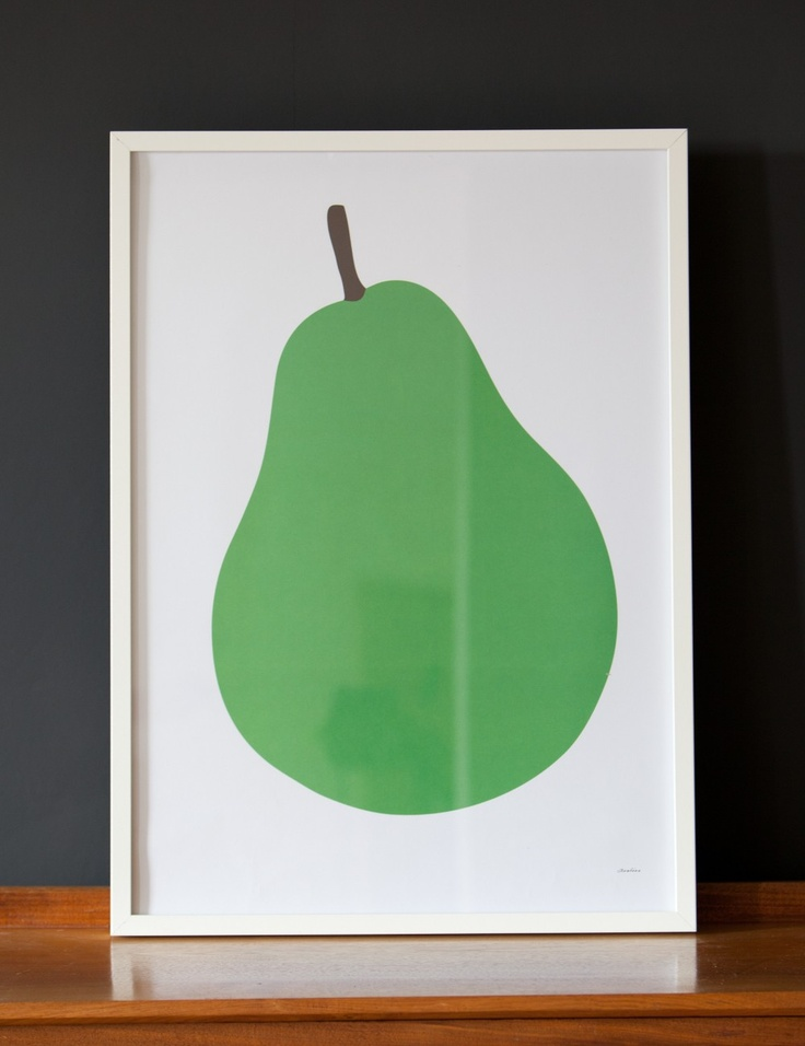 We really love the Pear Poster, in dazzling emerald green - the simple graphics and bold bold colours would work really well in a child's room, nursery or kitchen.
