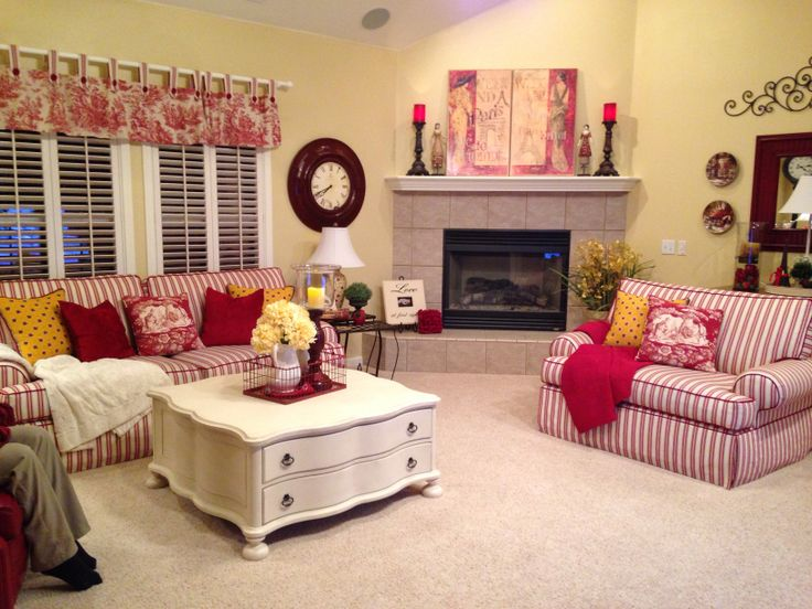 Red And White Living Room My Home Pinterest
