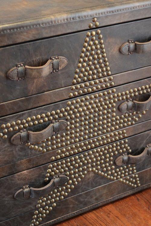 Studded leather trunk/dresser